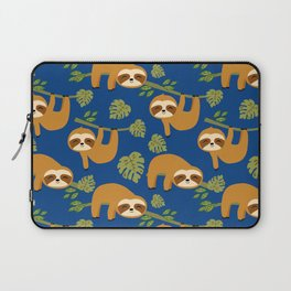 Cute Sloths on Blue, Baby Sloth Hanging Laptop Sleeve