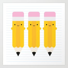 Happy Kawaii Pencils Art Print