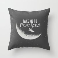 neverland Throw Pillows featuring Neverland by Pink Berry Patterns