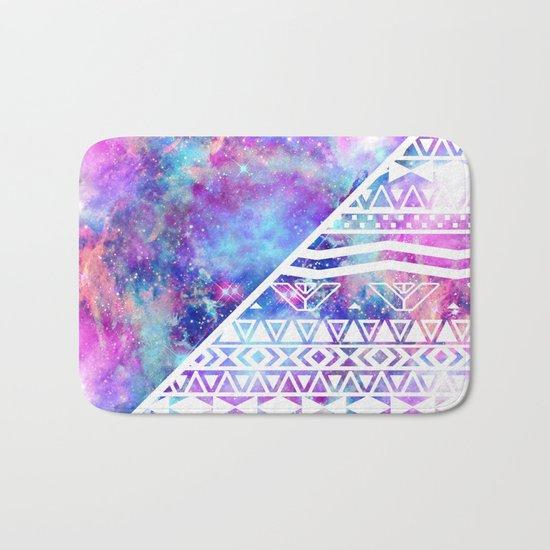 Girly Purple Pink Nebula Space White Tribal Aztec Bath Mat
