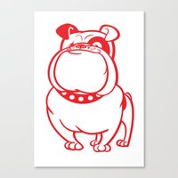 bulldog Canvas Prints featuring Bulldog by drawgood