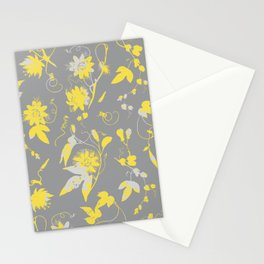 Elegant Yellow Passion Flowers on Grey Pattern Stationery Cards