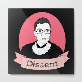 Ruth Bader Ginsburg portrait Dissent Metal Print