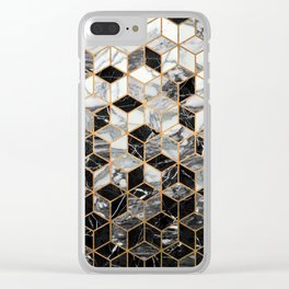 Marble Cubes - Black and White Clear iPhone Case
