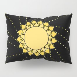 Celestial Swirling Sun Boho Mandala Hand-drawn Illustration on Black Pillow Sham