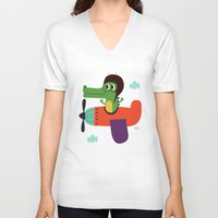 pilot V-neck T-shirts featuring crocodile pilot by Joanne Liu