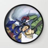 destiel Wall Clocks featuring Destiel Snow Angels by Smercurial