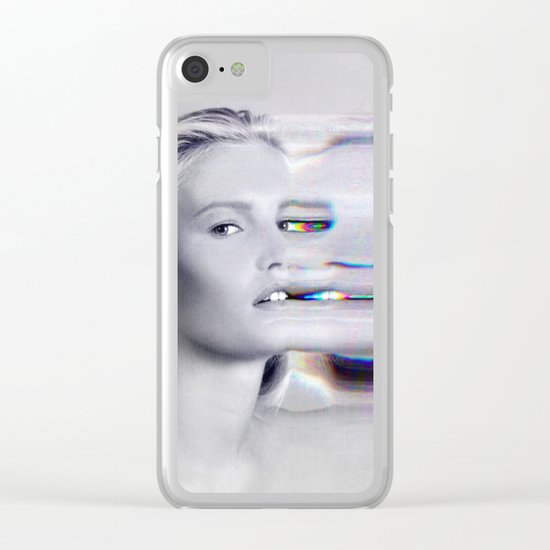 Glitch Face Melt Clear iPhone Case