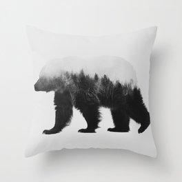 Brown Bear (black & white version) Throw Pillow