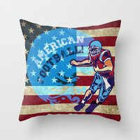 nfl Throw Pillows featuring American Football  by MaNia Creations