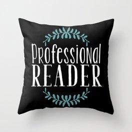 Professional Reader - Black w Blue Throw Pillow