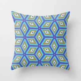 Blue and Gold Tilted Cubes Pattern Throw Pillow