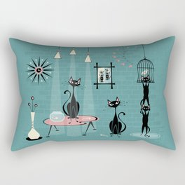 Mid Century Kitty Mischief - ©studioxtine Rectangular Pillow