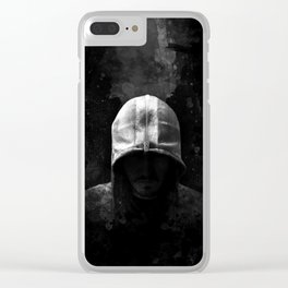 Modern Assassin Hood - B&W Clear iPhone Case