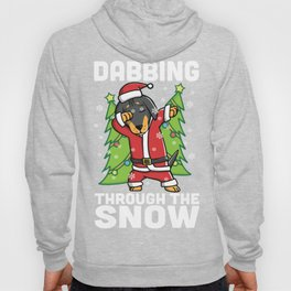Dachshund Dabbing Through The Snow Christmas Hoody