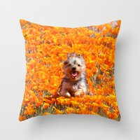 minnie Throw Pillows featuring Yorkie in Poppies by Sue Liberto Photography
