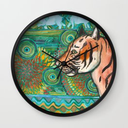 Tiger Mosaic Wall Clock