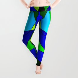 ABSTRACT CURVES #2 (Blues & Greens) Leggings