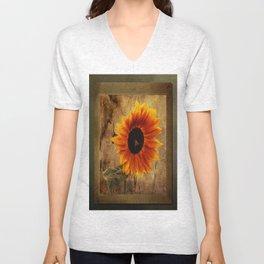 Vintage Sunflower Framed Unisex V-Neck