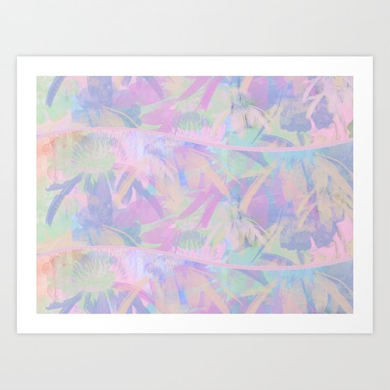 Painterly Soft Floral Waves Abstract Art Print