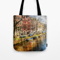 amsterdam Tote Bags featuring Amsterdam  by haroulita