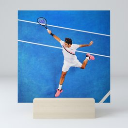 Flying Federer Tennis Backhand Mini Art Print