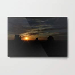Sunrise over Monument Valley East & West Mitten Buttes Metal Print