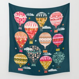 Hot Air Balloons - Retro, Vintage-inspired Print and Pattern by Andrea Lauren Wall Tapestry