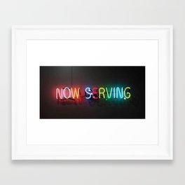 Now Serving Framed Art Print