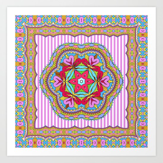 Mix&Match;  Pretty Pink Mandala Meditation pillow 03 Art Print