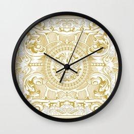 Medallion Lion Vintage Renaisance White Gold Wall Clock