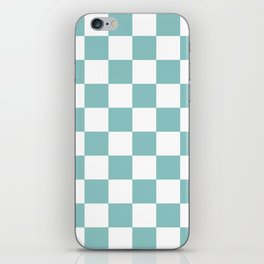 Chalky Blue Checkers Pattern iPhone Skin