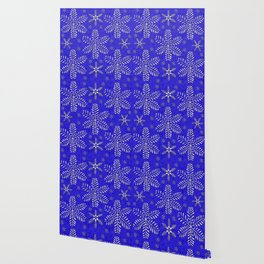 DP044-10 Silver snowflakes on blue Wallpaper