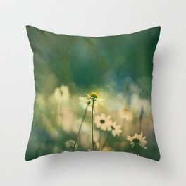 He Loves Me, Daisies Wildflowers Throw Pillow