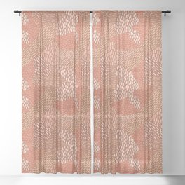 Brush Strokes Abstract Pattern, Brick with Coral and Tan Sheer Curtain