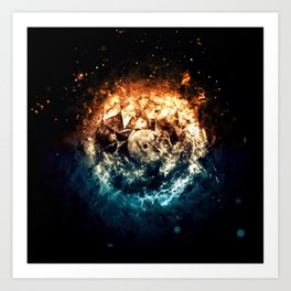 Burning Circle - Fire and Ice - Isolated Art Print