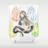 agnes Shower Curtains featuring Bravely Default Agnes & Crystals Watercolor by Aini
