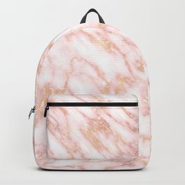 Elegant Rose Gold Marbled Streaks on Creamy Background Backpack