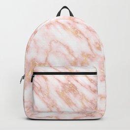 Elegant Rose Gold Marbled Streaks on Creamy Background Backpack