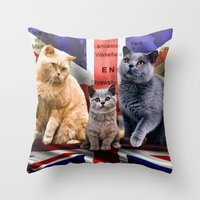 british flag Throw Pillows featuring British Shorthair by Selina Morgan