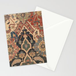 Geometric Leaves I // 18th Century Distressed Red Blue Green Colorful Ornate Accent Rug Pattern Stationery Cards