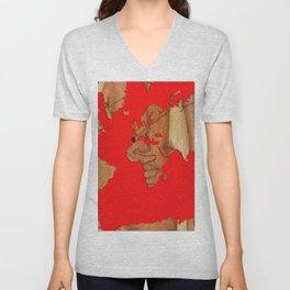 Wood bark - Red - Organic World Map Series Unisex V-Neck