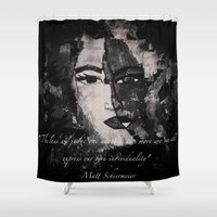 faces Shower Curtains featuring FACES by Matt Schiermeier