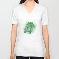 subaru V-neck T-shirts featuring #001 by Subaru