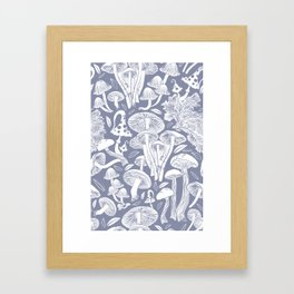 Delicious Autumn botanical poison IV // blue grey background Framed Art Print