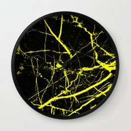 Yellow Marble Pattern - Abstract, black and yellow Wall Clock