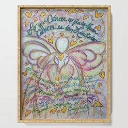 Espanol Ángel Cáncer - Spanish Cancer Poem Angel Art Serving Tray