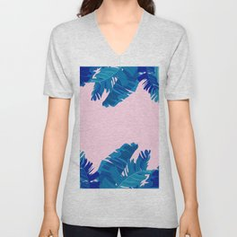 Hand painted navy blue blush pink watercolor tropical leaves Unisex V-Neck