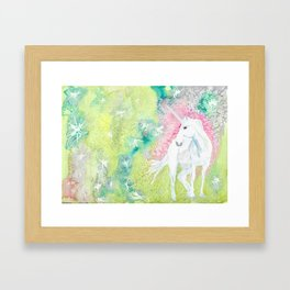 Unicorn and the Faries Framed Art Print