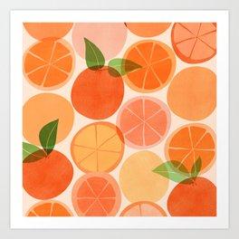 Sunny Oranges / Tropical Fruit Illustration Art Print